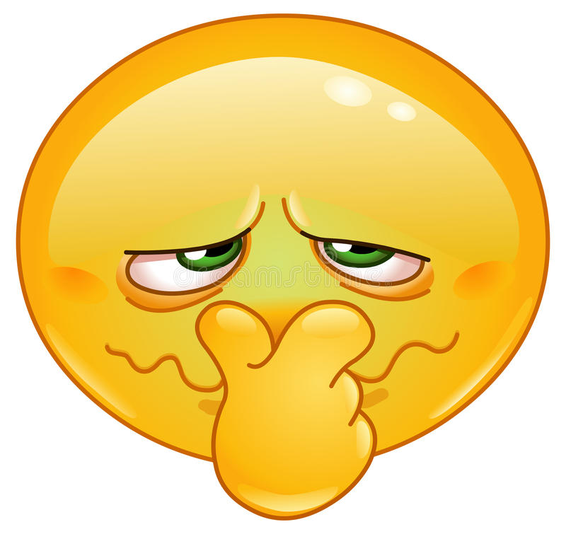 Bad smell emoticon. Emoticon holding his nose because of a bad smell stock illustration