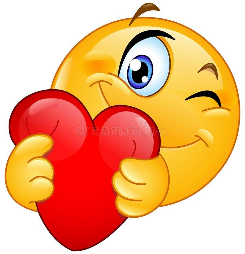 Emoticon hugging heart. Winking emoticon hugging a red heart vector illustration