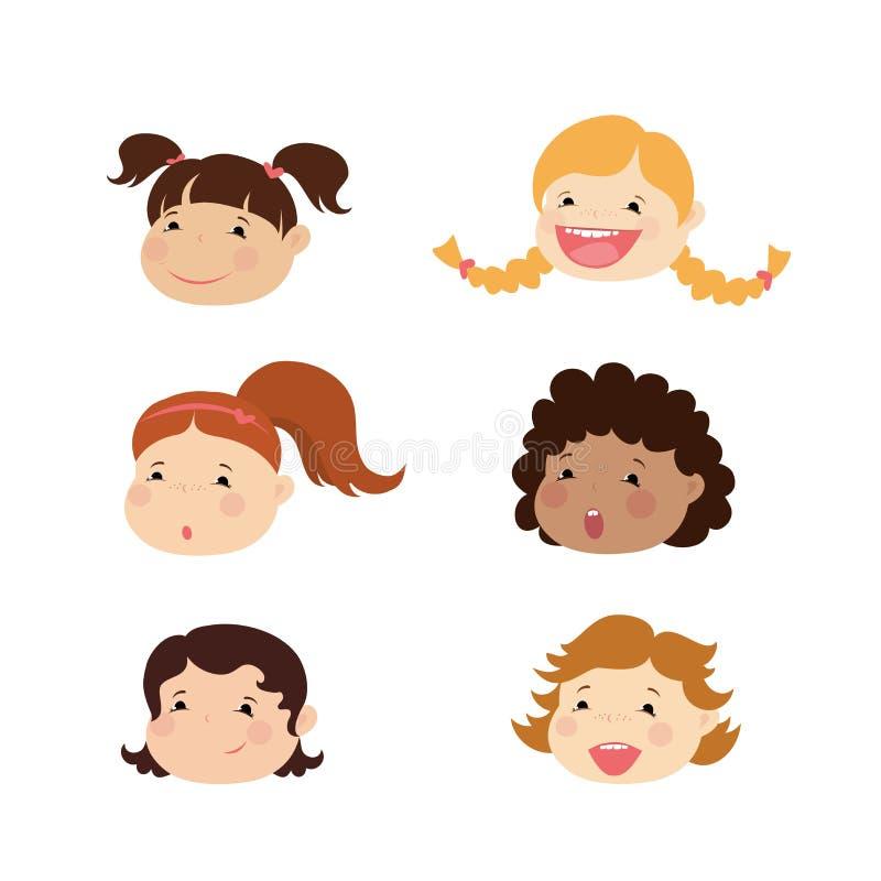 Emoticon ikony ustawiać śliczna dziewczyna z różnorodnymi emocjami, ilustracja wektor