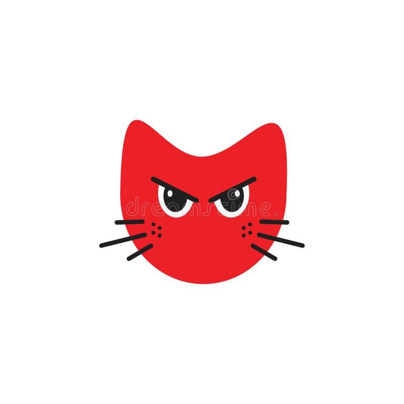 Emoticon irritado do gato ilustração royalty free