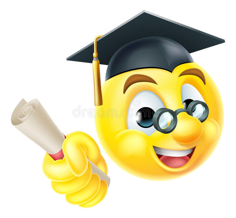 Emoticon laureato di Emoji di graduazione illustrazione di stock