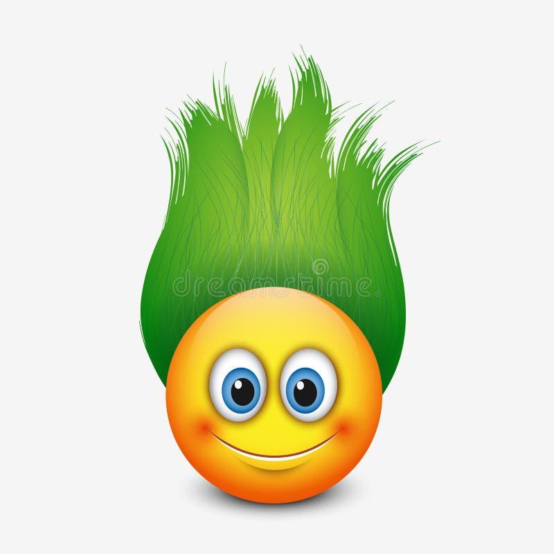 Emoticon lindo con el pelo verde - emoji - vector el ejemplo libre illustration