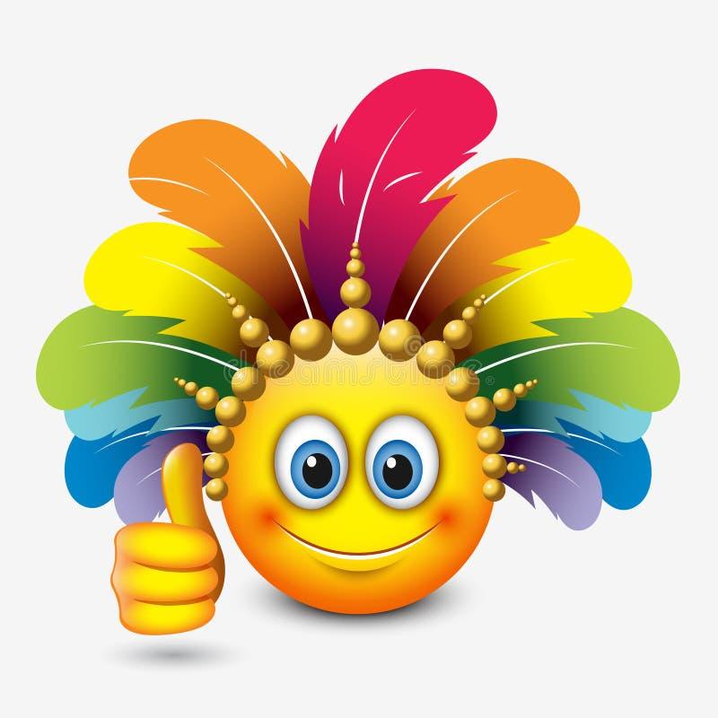 Emoticon lindo con el pulgar para arriba que lleva el tocado del carnaval - emoji - vector el ejemplo stock de ilustración