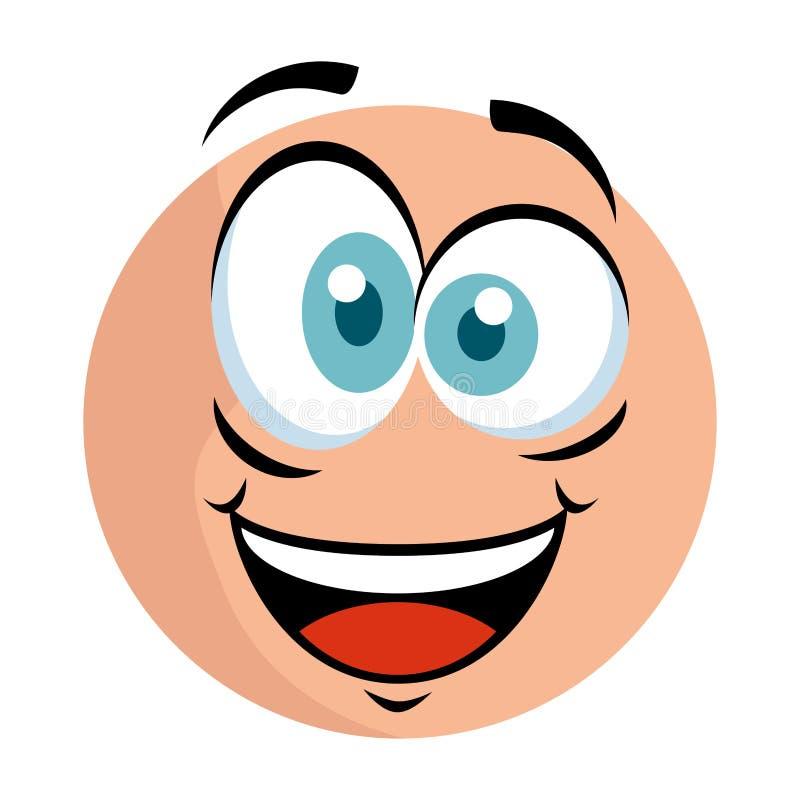 Emoticon lindo con la cara loca stock de ilustración