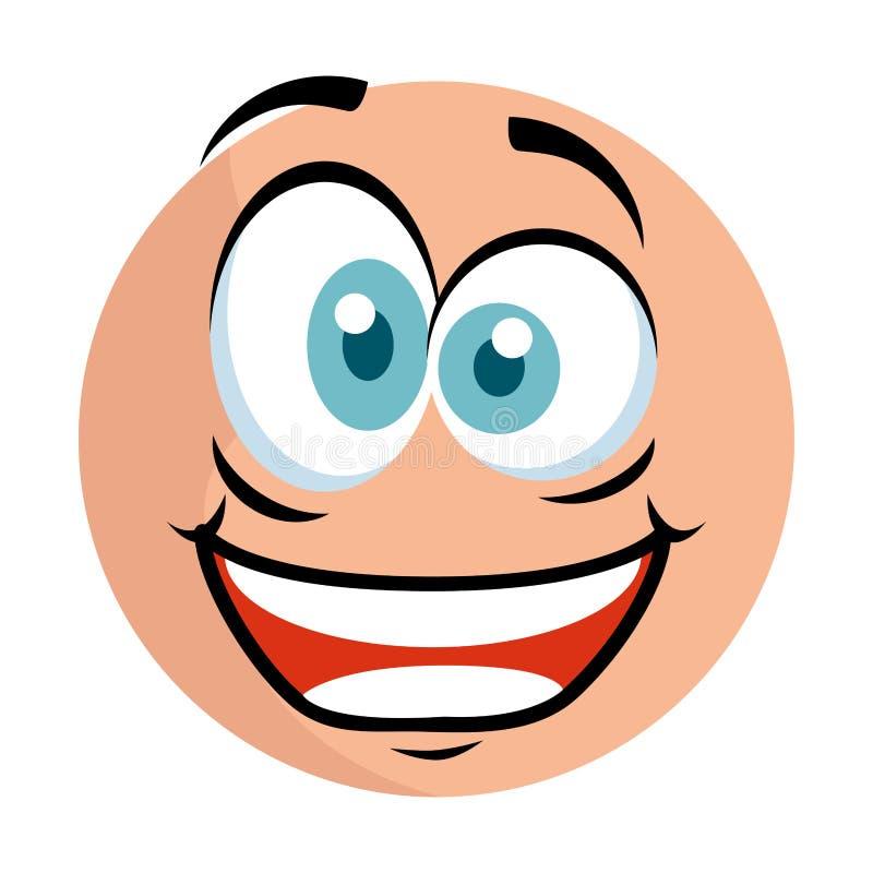 Emoticon lindo con la cara loca ilustración del vector