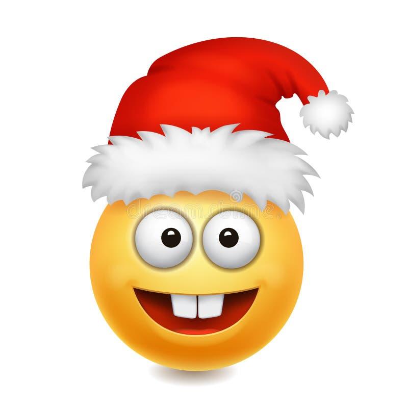 Emoticon lindo del icono del emoji de la sonrisa de Santa Claus ilustración del vector
