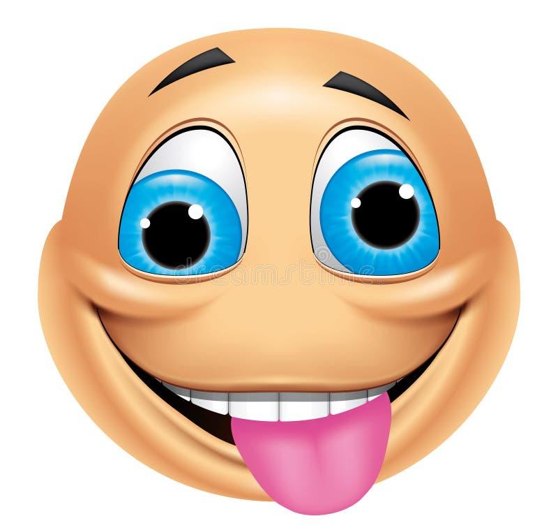 Emoticon loco ilustración del vector