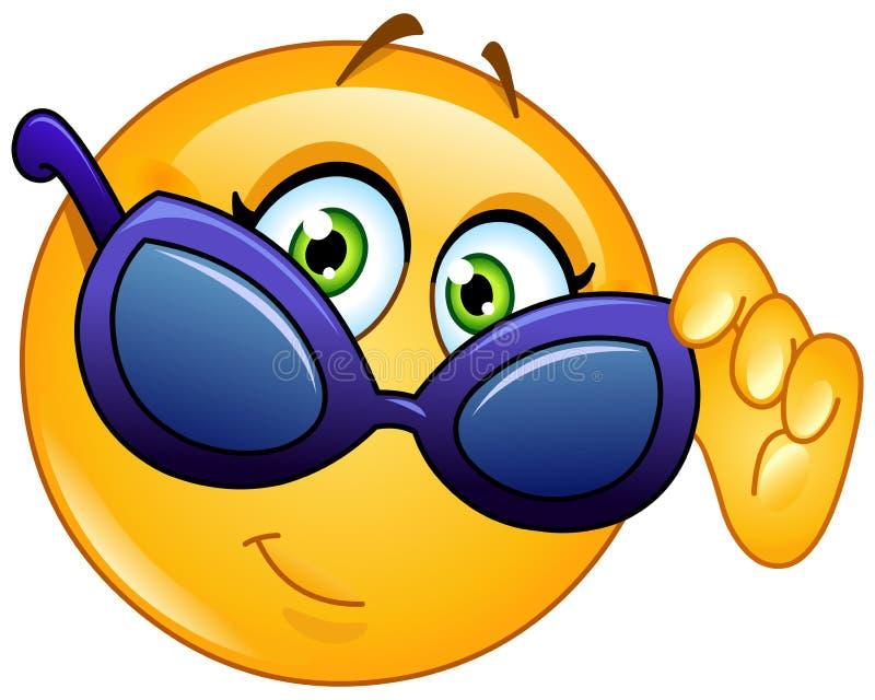 Emoticon looking over sunglasses stock illustration