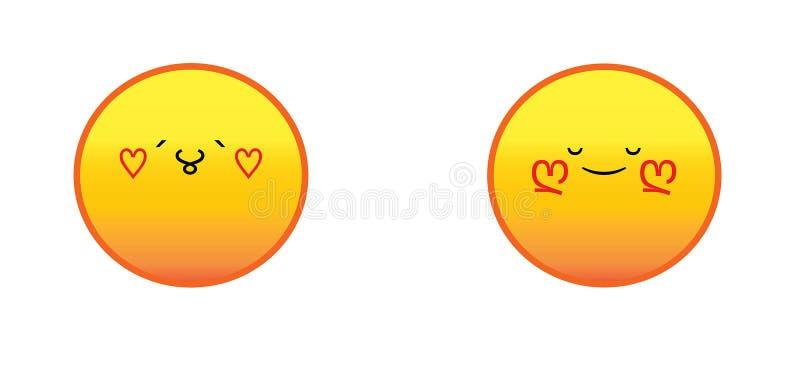 Emoticon med hjärtauppsättningen royaltyfri illustrationer
