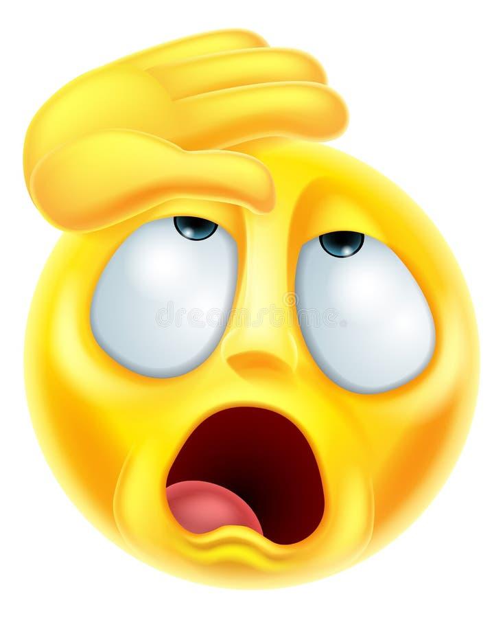Emoticon melodramático de desmaio de Emoji ilustração stock