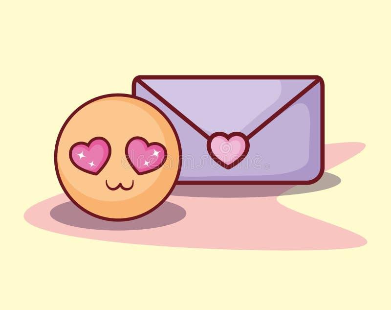Emoticon message love romance online dating. Vector illustration stock illustration