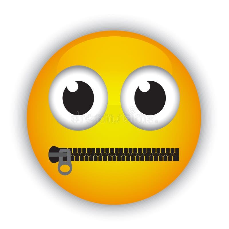 Emoticon met een mond met een ritssluiting wordt vastgemaakt die royalty-vrije illustratie