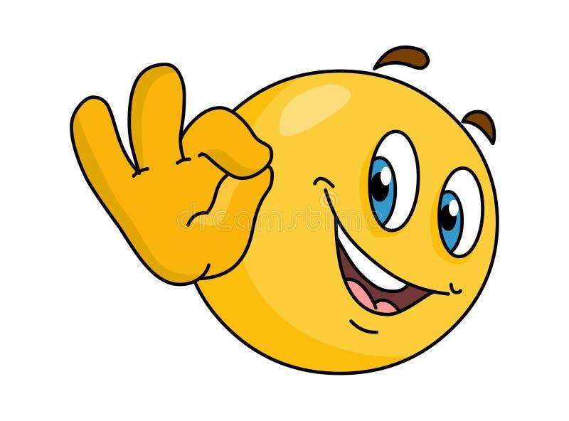 Emoticon met o.k. teken vectoremoji vector illustratie