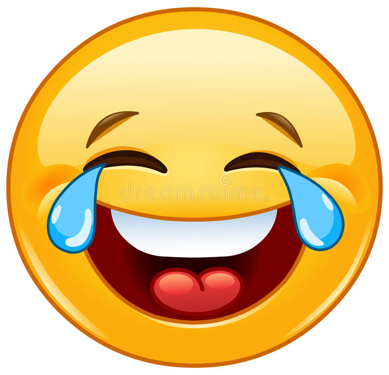 Emoticon met scheuren van vreugde