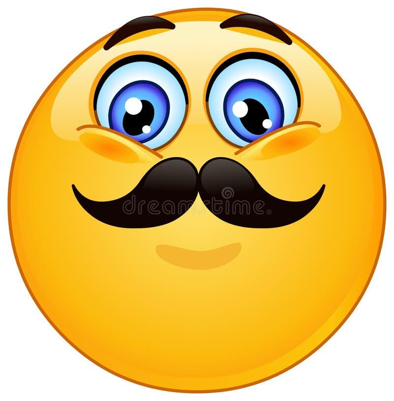 Emoticon met snor royalty-vrije illustratie