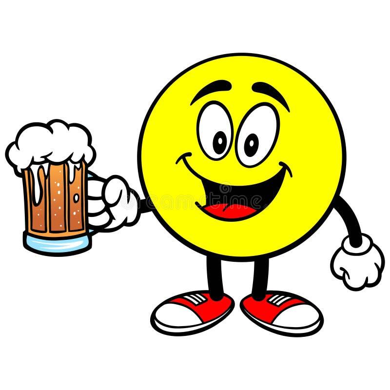 Emoticon mit Bier lizenzfreie abbildung