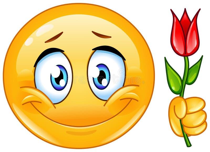 Emoticon mit Blume lizenzfreie abbildung