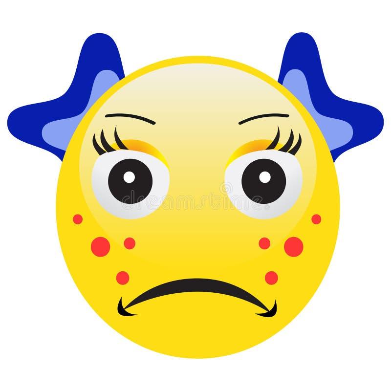 Emoticon mit der Akne, die einen Pickel zusammendrückt stock abbildung