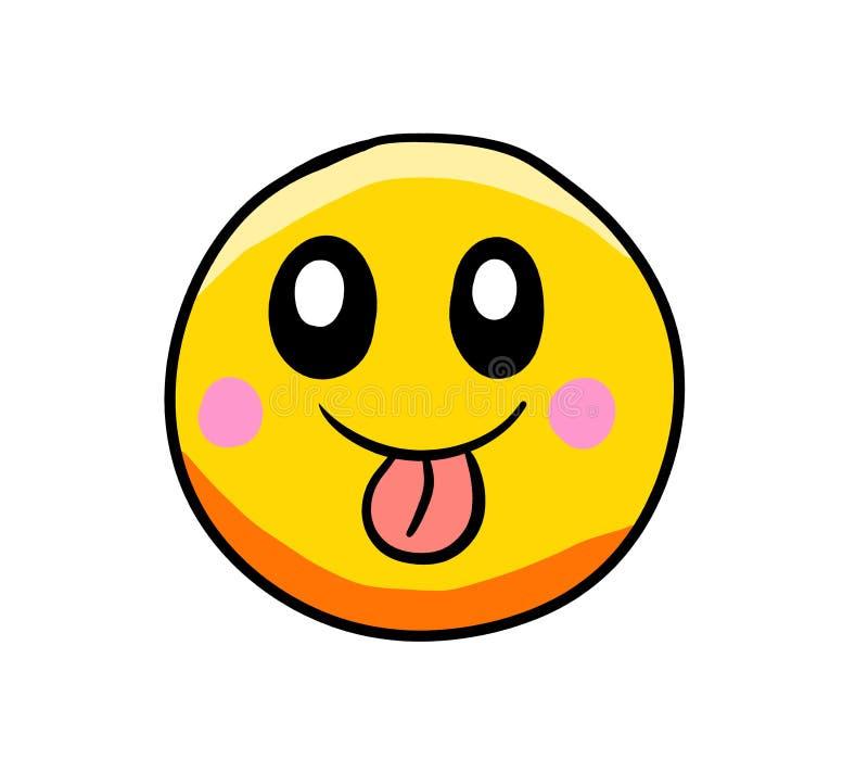 Emoticon molto felice e sciocco del fumetto illustrazione di stock
