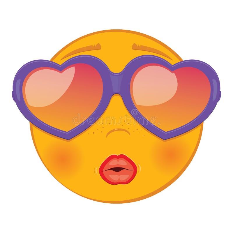 Emoticon molto felice ed adorabile sveglio In sunglass sotto forma di cuore royalty illustrazione gratis