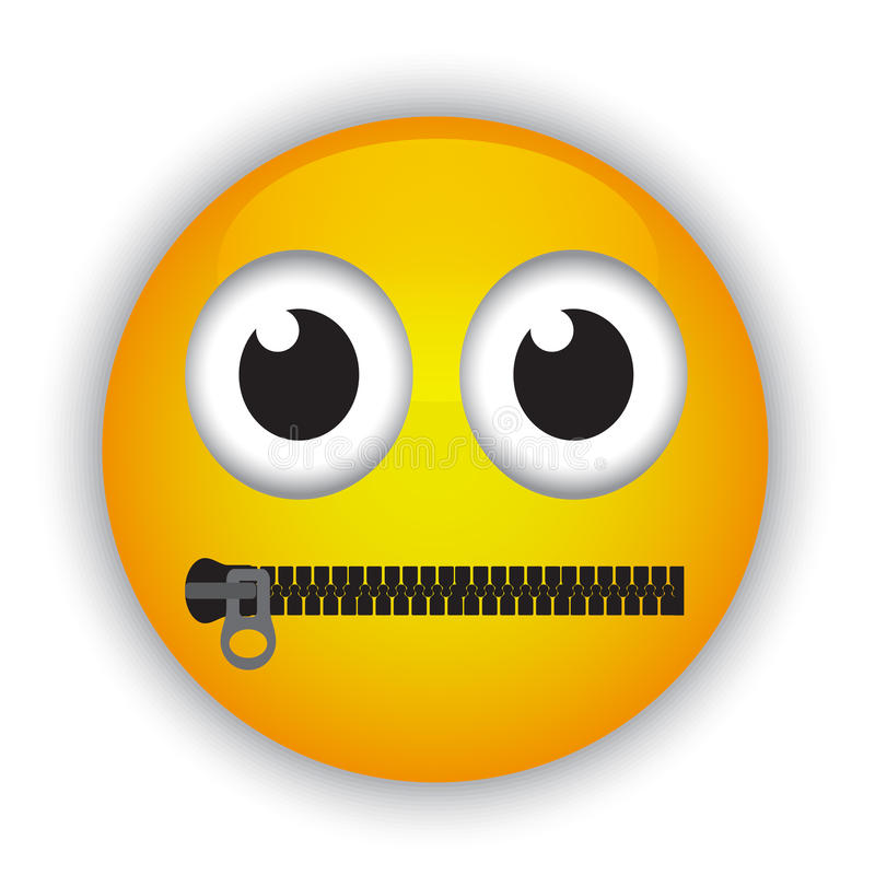 Emoticon with a mouth fastened with a zipper royalty free illustration