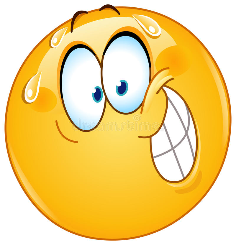 Emoticon nervoso do sorriso ilustração stock