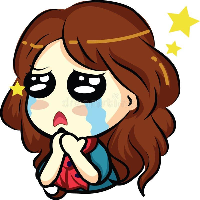 Emoticon novo bonito da menina do anime: olhos do cachorrinho imagens de stock royalty free