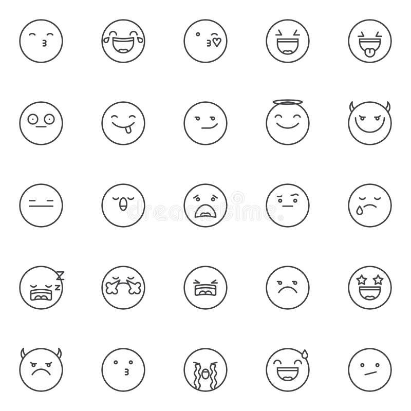 Emoticon outline icons set royalty free illustration