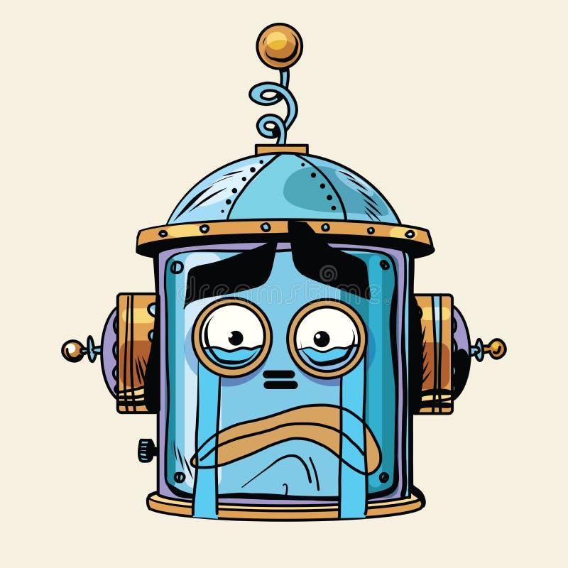 Emoticon płaczu emoji robota głowy smiley emocja ilustracji