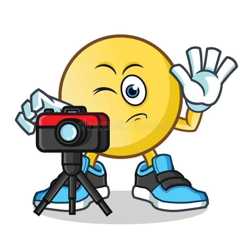 Emoticon photographer taking pictures mascot vector cartoon illustration royalty free stock image