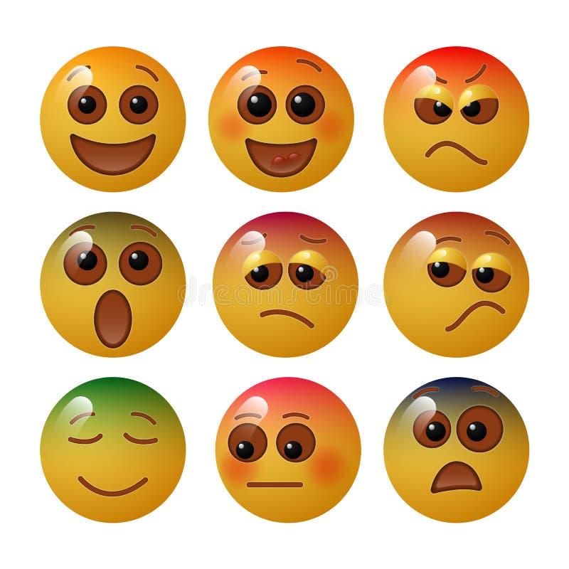 Emoticon pokazuje podstawowe ludzkie emocje z i uczucia wyrazami twarzy i kolorami również zwrócić corel ilustracji wektora ilustracja wektor