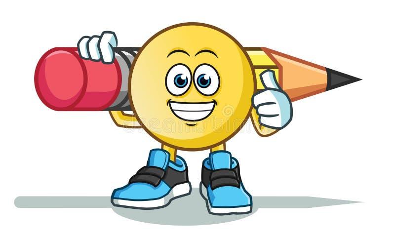 Emoticon que celebra el ejemplo grande de la historieta del vector de América del lápiz stock de ilustración