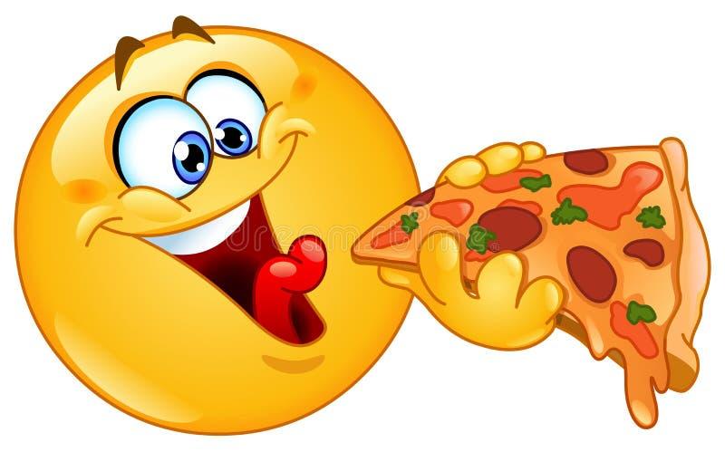Emoticon que come la pizza stock de ilustración