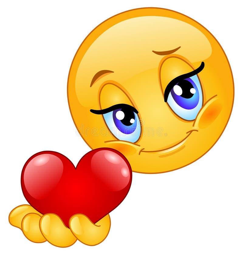 Emoticon que dá o coração ilustração royalty free