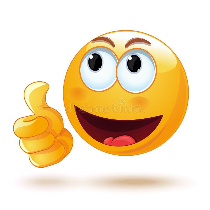 Emoticon que mostra o polegar acima ilustração stock