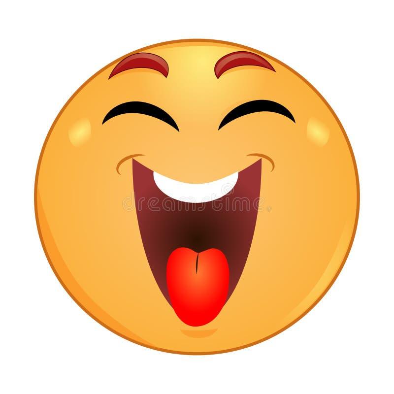 Emoticon que ríe con los ojos cerrados stock de ilustración