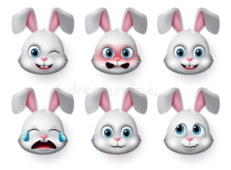 Emoticon rabbit face vector set. Rabbit or bunny emojis and emotions animal face with angry, crying, scared and cute faces. royalty free stock images