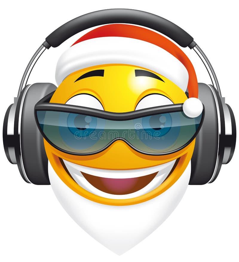 Emoticon Santa DJ stock de ilustración