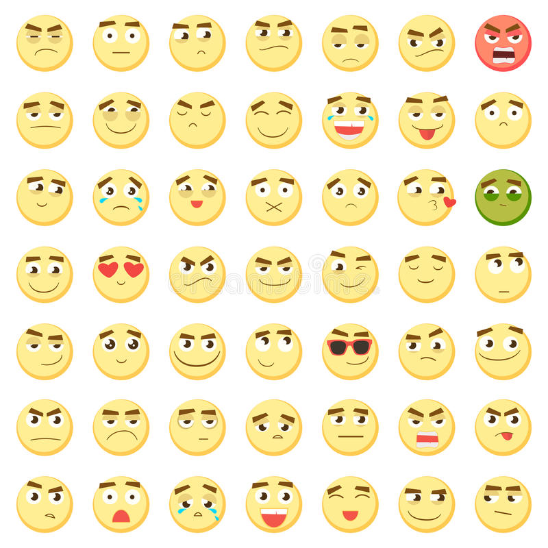 Emoticon set. Collection of Emoji. 3d emoticons. Smiley face icons isolated on white background. Vector stock illustration