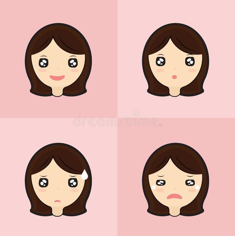 Emoticon set of cute girl royalty free illustration