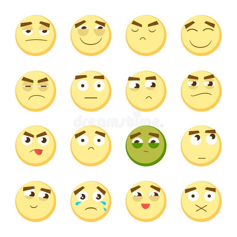 Emoticon set Kolekcja emoji 3d emoticons Smiley twarzy ikony na białym tle wektor royalty ilustracja