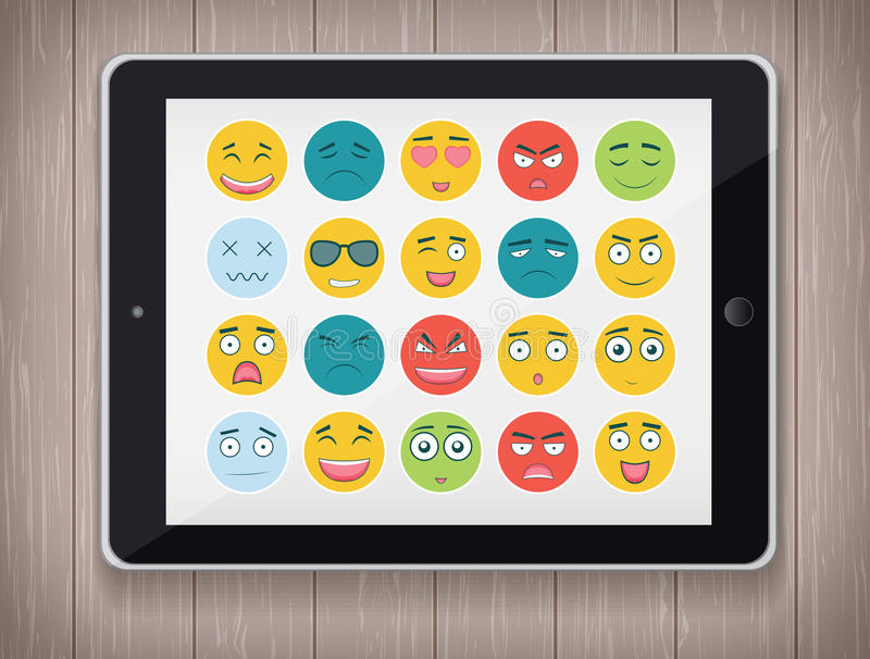 Emoticon set with realistic Tablet PC. Emoticon for web site, chat, sms. Modern flat design. Vector. Illustration royalty free illustration
