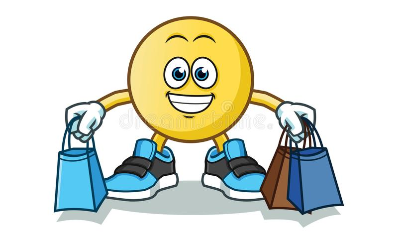 Emoticon shopping vector cartoon illustration royalty free illustration