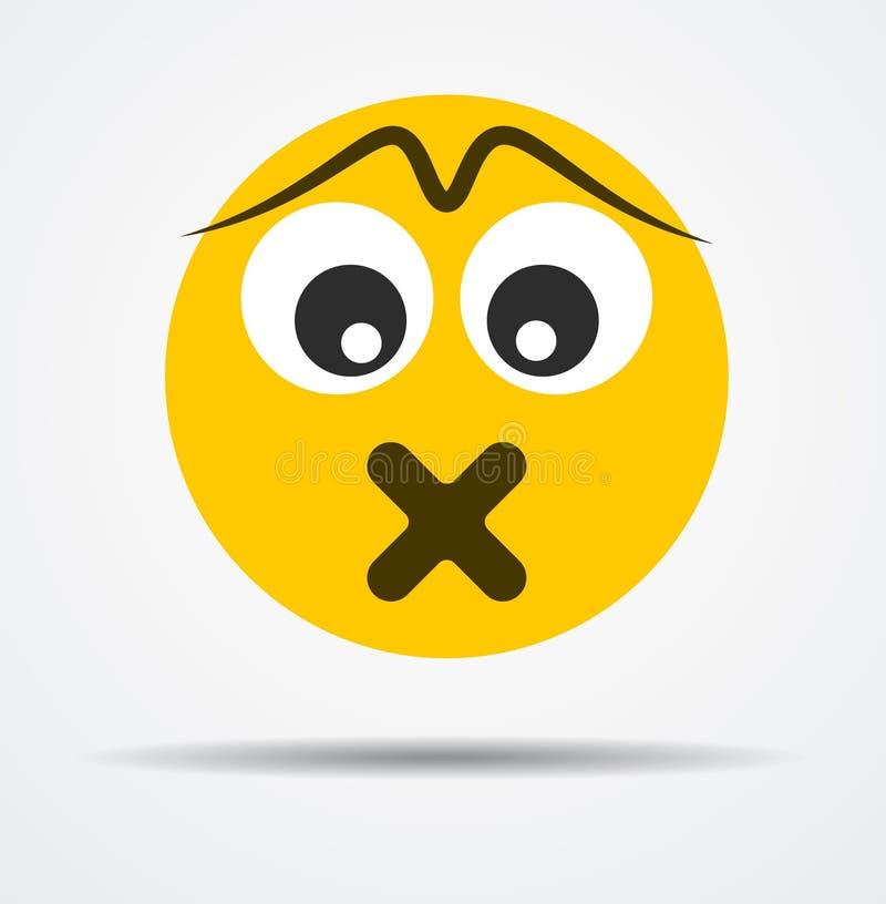 Emoticon silencioso aislado en un diseño plano ilustración del vector