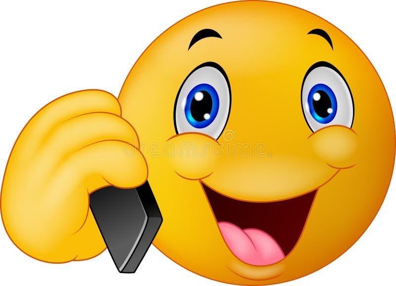 Emoticon smiley opowiada na telefonie komórkowym ilustracja wektor