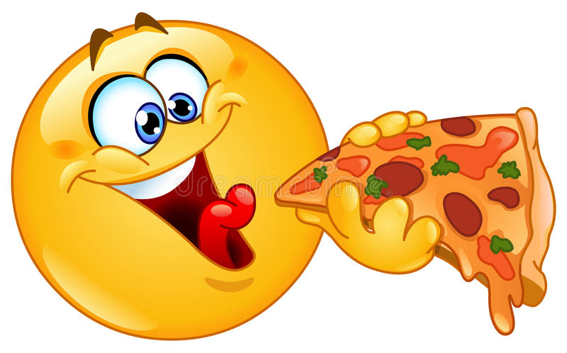 Emoticon som äter pizza stock illustrationer