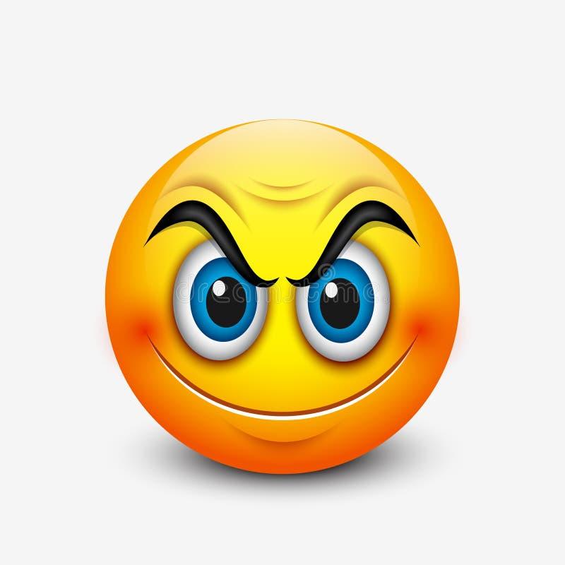 Emoticon sonriente enojado, emoji - vector el ejemplo ilustración del vector