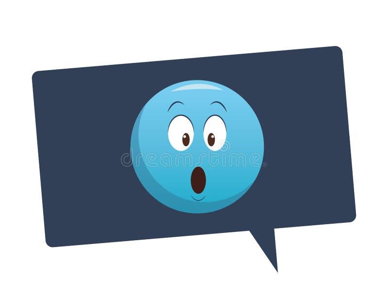 Emoticon sorprendido dentro de la burbuja stock de ilustración