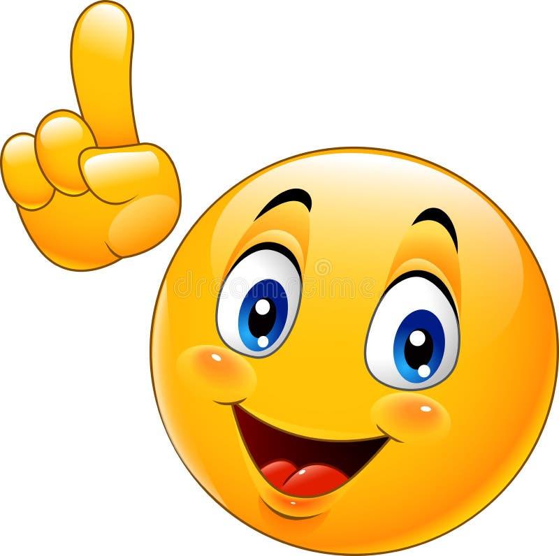 Emoticon sorridente del fumetto che fa un punto illustrazione di stock
