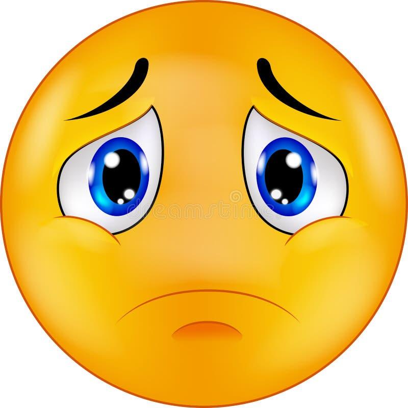 Emoticon sorridente triste del fumetto illustrazione di stock